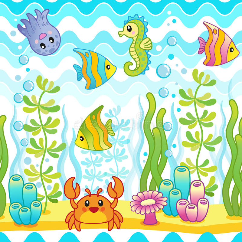 Wektorowy bezszwowy wzór z podwodnym projektem i śmiesznymi dennymi istotami royalty ilustracja