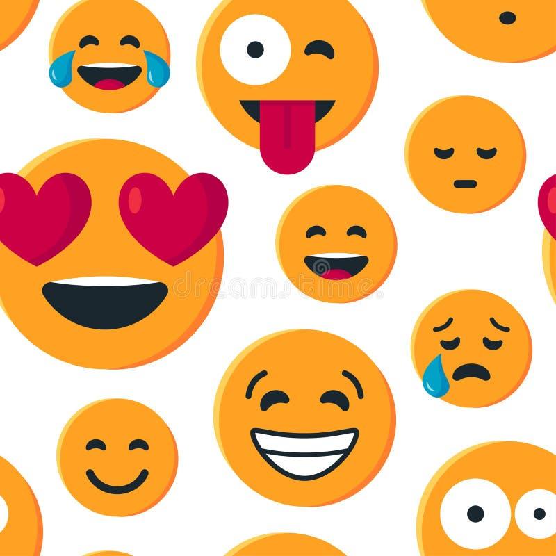 Wektorowy bezszwowy wzór z prostym żółtym emoji royalty ilustracja