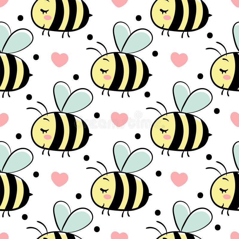 Wektorowy bezszwowy wzór z pszczołami w miłości ilustracji