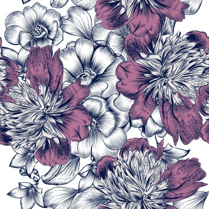 Wektorowy bezszwowy wzór z różami i peonią kwitnie w graweruje ilustracji