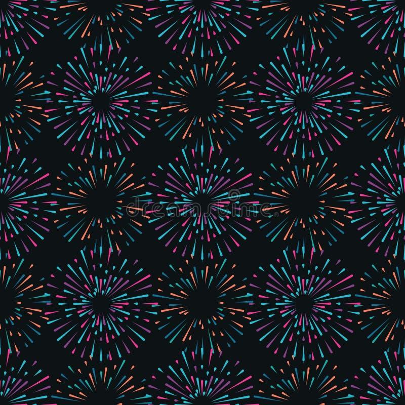 Wektorowy bezszwowy wzór z różnymi kolorowymi fajerwerkami ilustracji
