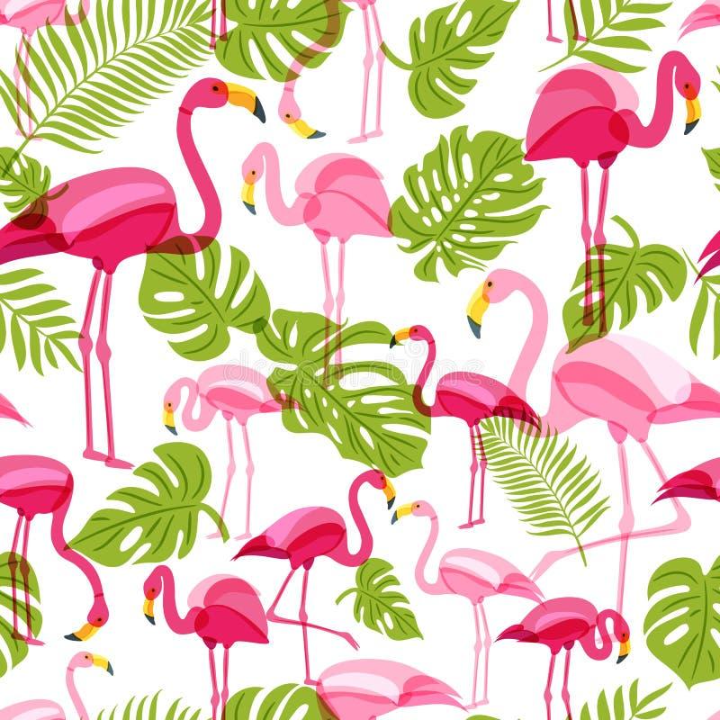 Wektorowy bezszwowy wzór z różowym flamingiem i zieleni drzewkiem palmowym opuszcza tropikalny tła lato ilustracji