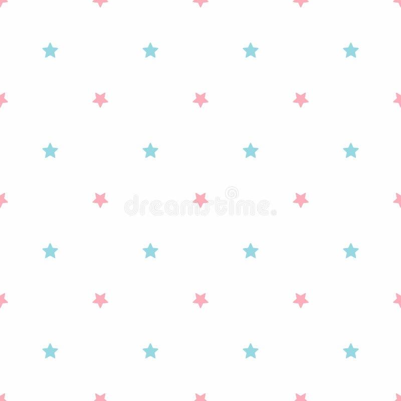 Wektorowy bezszwowy wzór z różowymi i błękitnymi gwiazdami ilustracji
