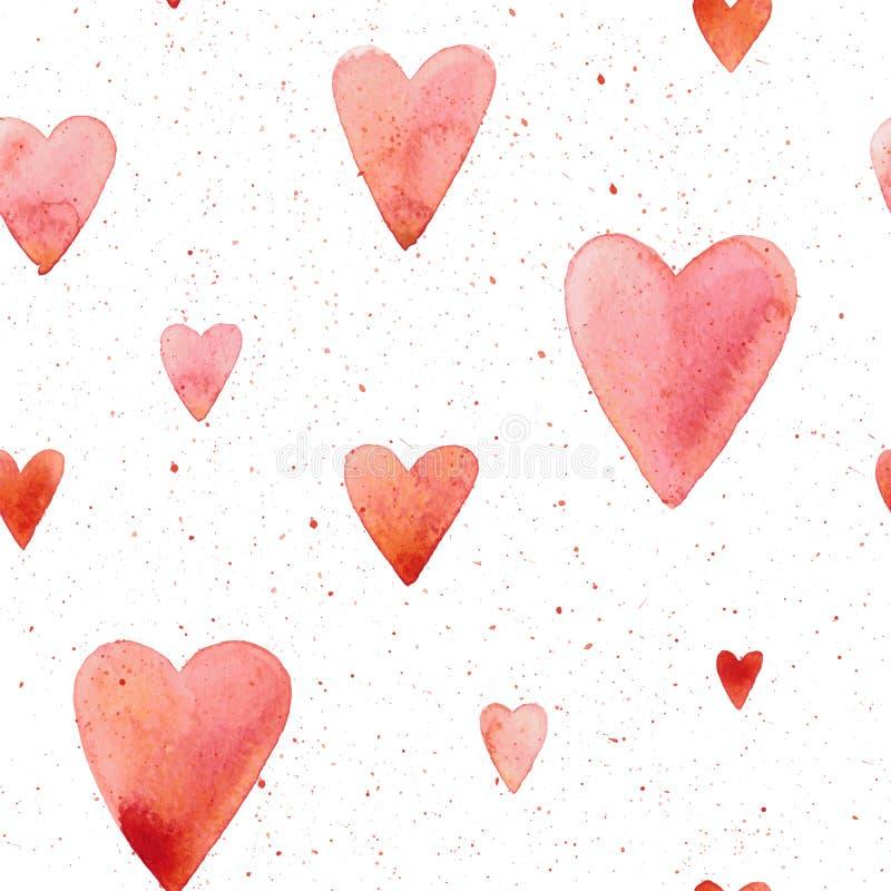 Wektorowy bezszwowy wzór z ręką malował akwareli serca ilustracji