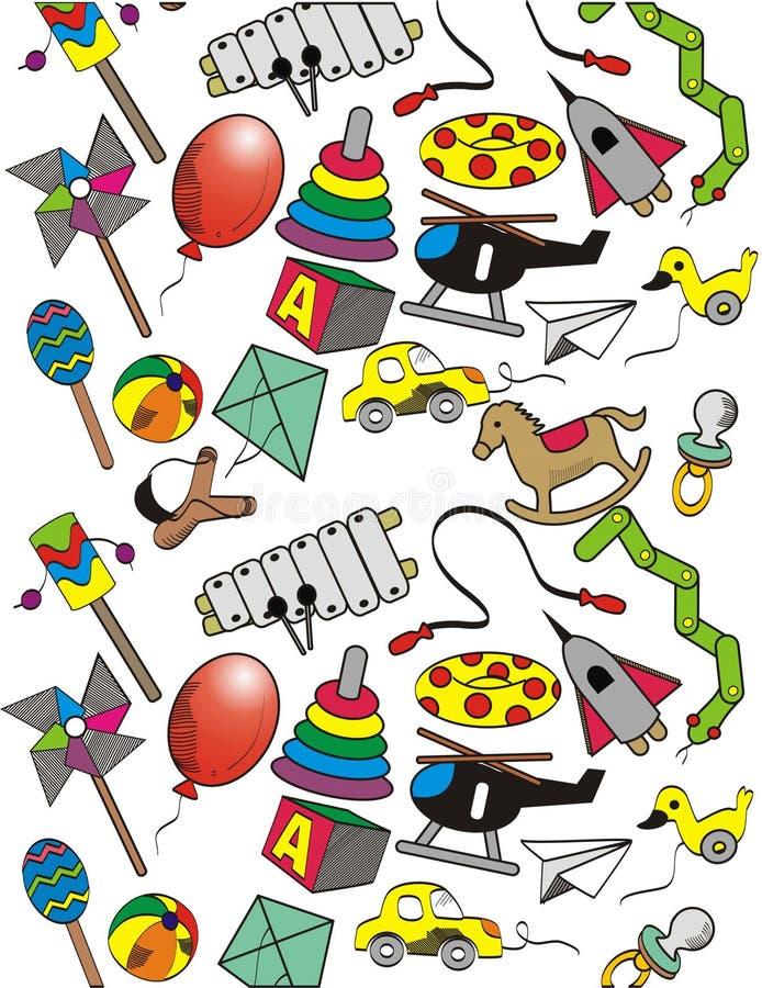 Wektorowy bezszwowy wzór z ręką rysującą i kreskówek zabawkami ilustracja wektor