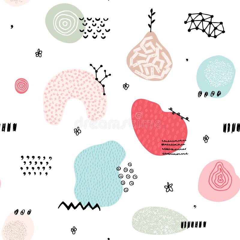 Wektorowy bezszwowy wzór z ręka rysującym abstraktem kształtuje Łaciaste i textured postacie projekt unikalny ilustracji