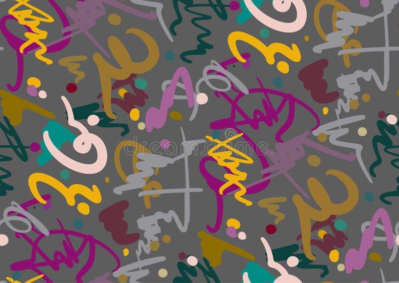 Wektorowy bezszwowy wzór z ręka rysującym muśnięciem i lampas ręką malującą muska Czarny, popielaty, menchia, zieleń, błękit barw ilustracji
