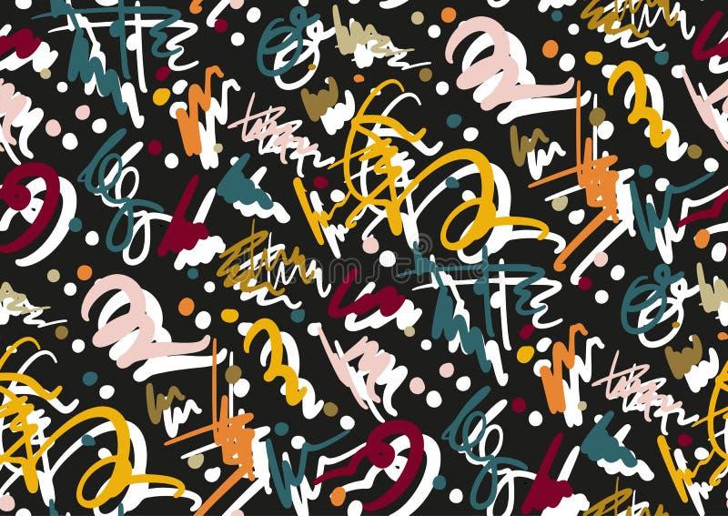 Wektorowy bezszwowy wzór z ręka rysującym muśnięciem i lampas ręką malującą muska Czarny, złoty, biały, menchie, zieleń, błękitna royalty ilustracja