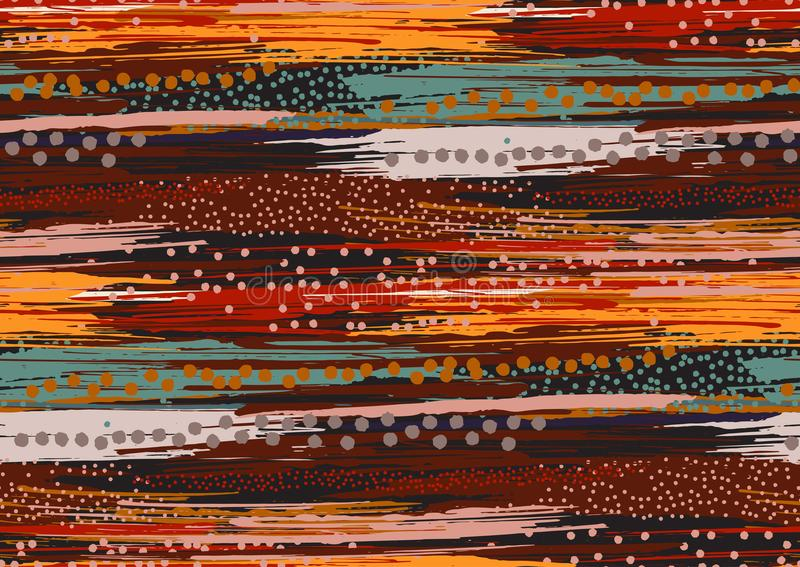 Wektorowy bezszwowy wzór z ręka rysującym szorstkich krawędzi textured muśnięciem i lampas ręką malującą muska ilustracja wektor