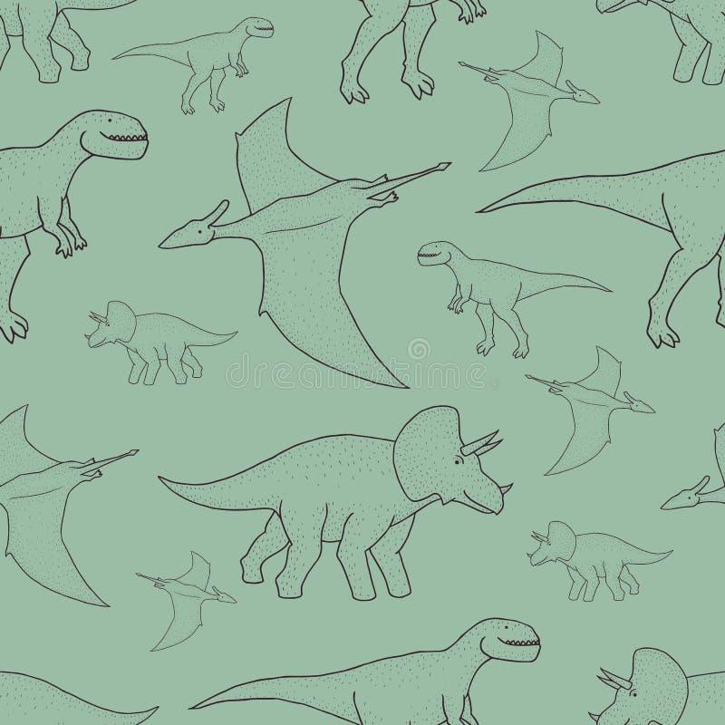 Wektorowy bezszwowy wzór z ręka rysującymi dinosaurami zdjęcia stock