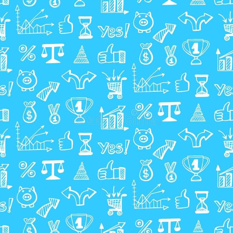 Wektorowy bezszwowy wzór z ręki rysować biznesowymi doodle ikonami royalty ilustracja