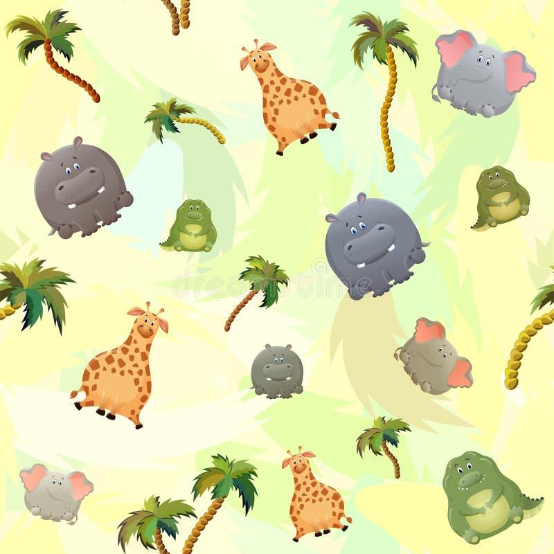Wektorowy bezszwowy wzór z słoniem, żyrafą, krokodylem, hipopotamem i drzewkami palmowymi, ?liczny gruby posta? z kresk?wki Poj?c royalty ilustracja