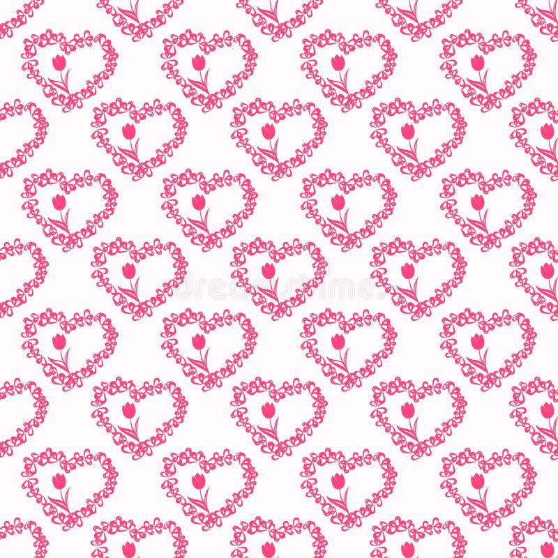 Wektorowy bezszwowy wzór z sercami i tulipanami ilustracja wektor