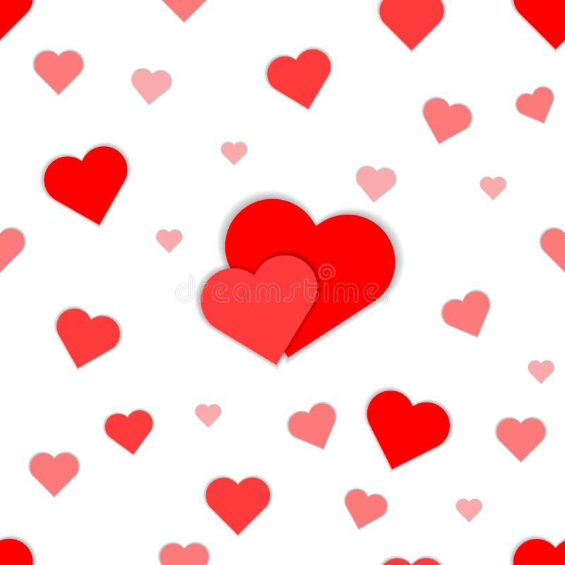 Wektorowy bezszwowy wzór z sercami Ukazuje się dla opakunkowego papieru, koszula, płótna, Digital papier royalty ilustracja