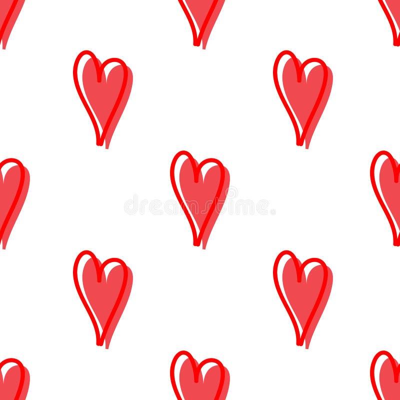 Wektorowy bezszwowy wzór z sercami Ukazuje się dla opakunkowego papieru, koszula, płótna, Digital papier ilustracji