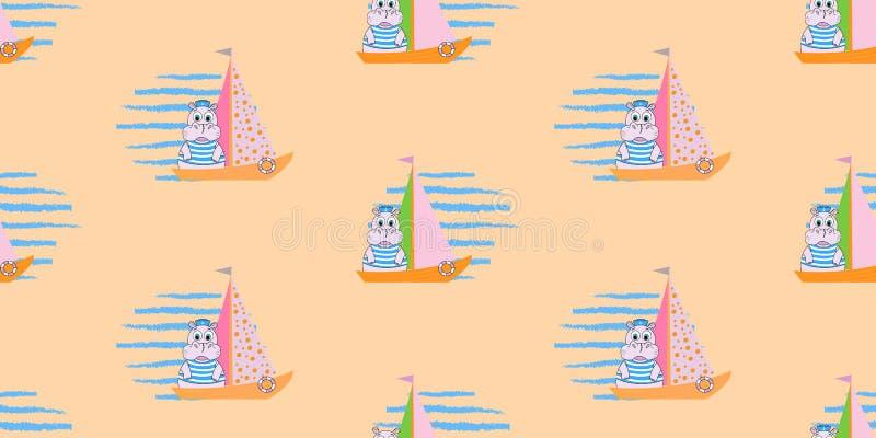 Wektorowy bezszwowy wzór z statkami i hipopotamem Żołnierz piechoty morskiej deseniowa ilustracja ilustracja wektor