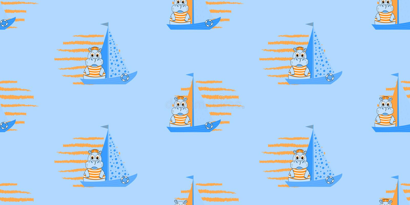 Wektorowy bezszwowy wzór z statkami i hipopotamem Żołnierz piechoty morskiej deseniowa ilustracja ilustracji