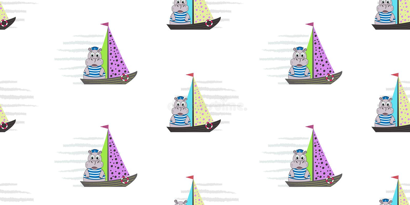 Wektorowy bezszwowy wzór z statkami i hipopotamem Żołnierz piechoty morskiej deseniowa ilustracja royalty ilustracja