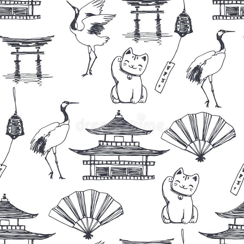 Wektorowy bezszwowy wzór z symbolami Japonia odizolowywał na białym tle Wręcza patroszoną teksturę z pagodą, dancingowi żurawie,  ilustracja wektor