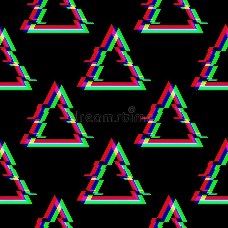 Wektorowy bezszwowy wzór z symbolem trójbok w usterka stylu Geometryczna glitched ikona odizolowywająca na czarnym tle royalty ilustracja