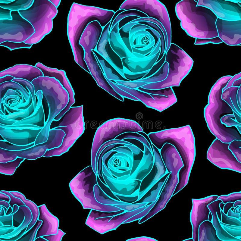 Wektorowy bezszwowy wzór z tajemniczym neonowym rozjarzonym róży tłem ilustracja wektor