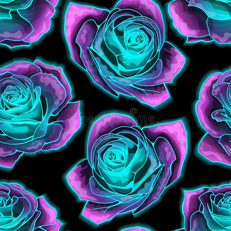 Wektorowy bezszwowy wzór z tajemniczym neonowym rozjarzonym róży tłem ilustracji