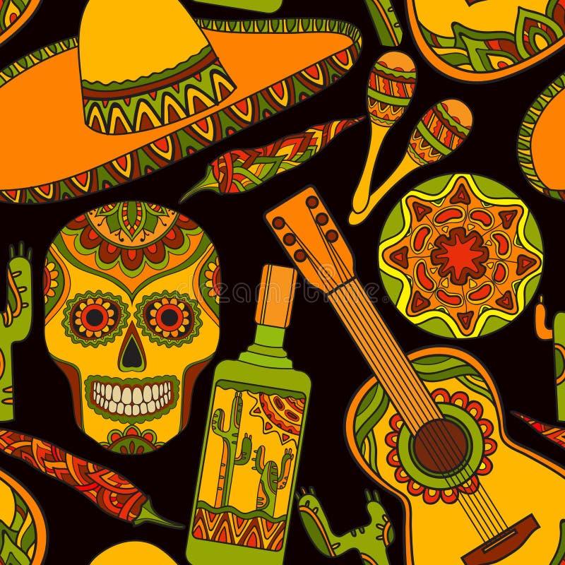 Wektorowy bezszwowy wzór z tradycyjnymi meksykańskimi symbolami royalty ilustracja