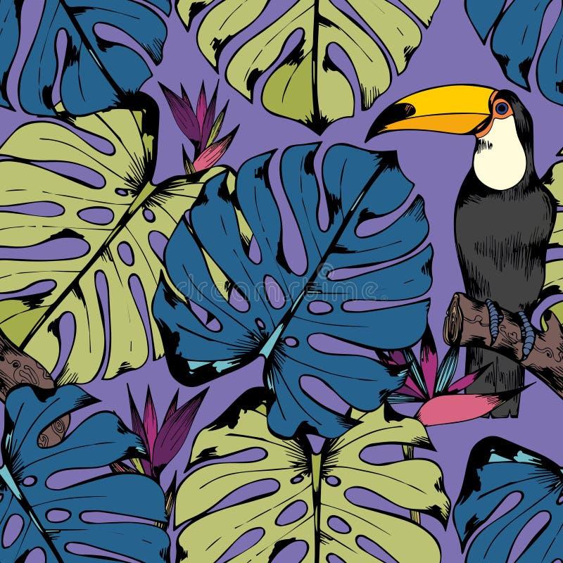 Wektorowy bezszwowy wzór z tropikalnymi gałąź, liśćmi i ptakami, rysunkowy wręcza jej ranek bielizny jej ciepłych kobiety potomst ilustracji