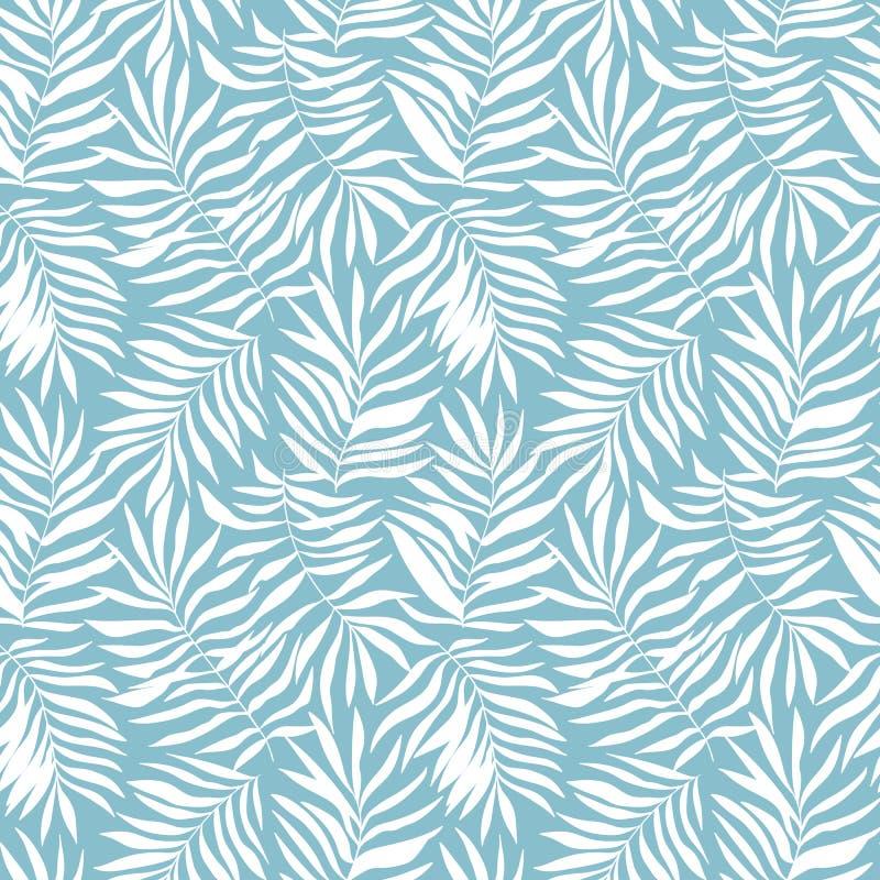 Wektorowy bezszwowy wzór z tropikalnymi liśćmi Piękny druk z ręki rysować egzot roślinami Swimwear botaniczny projekt royalty ilustracja