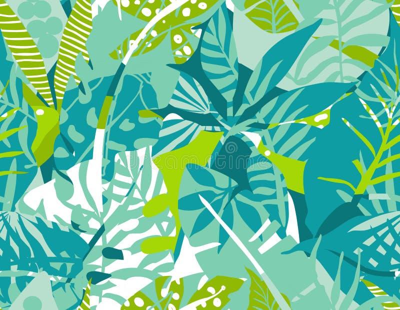 Wektorowy bezszwowy wzór z tropikalnymi roślinami i ręki rysować abstrakcjonistycznymi teksturami royalty ilustracja