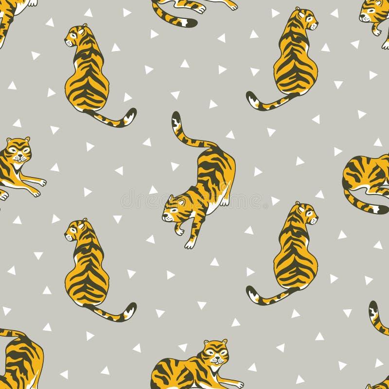 Wektorowy bezszwowy wzór z tygrysami i trójbokami odizolowywającymi na popielatym tle ilustracja wektor