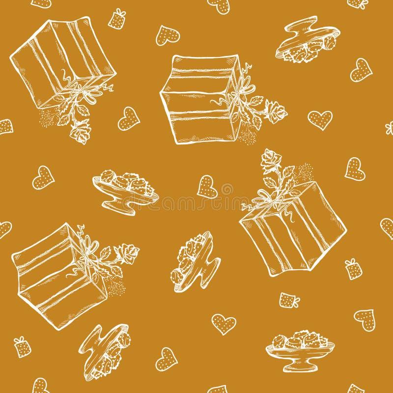 Wektorowy bezszwowy wzór z urodzinowymi powitaniami i sercami Złocisty tło dla prezenta opakowania pudełko, faborek, wzrastał ilustracji