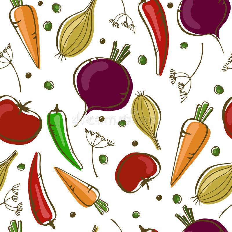Wektorowy bezszwowy wzór z warzywami na białym tle ilustracja wektor