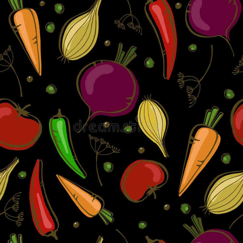 Wektorowy bezszwowy wzór z warzywami na czarnym tle ilustracji