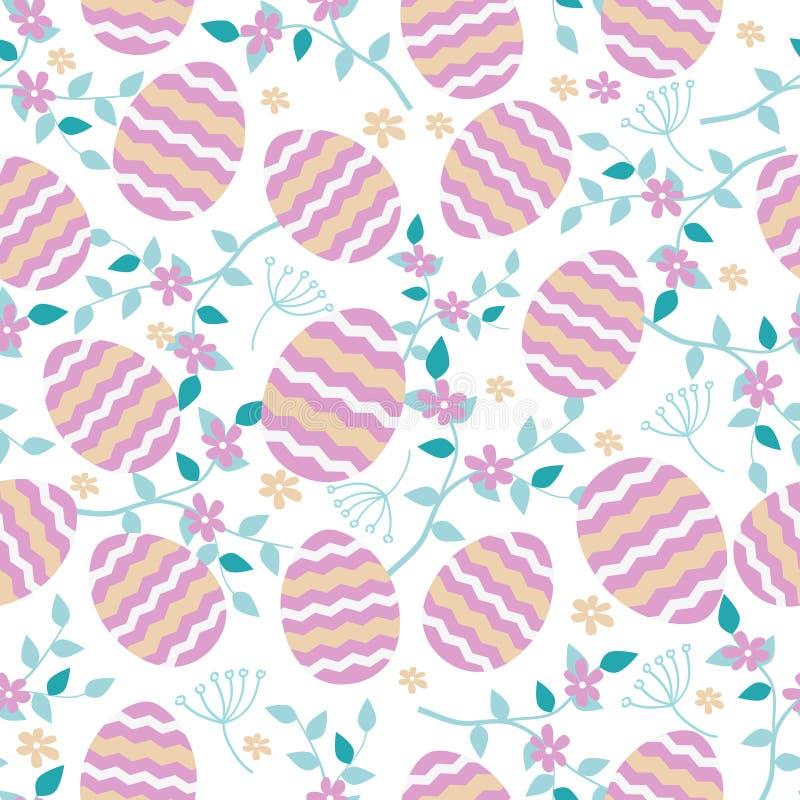 Wektorowy bezszwowy wzór z Wielkanocnymi jajkami i wiosen roślinami ilustracja wektor