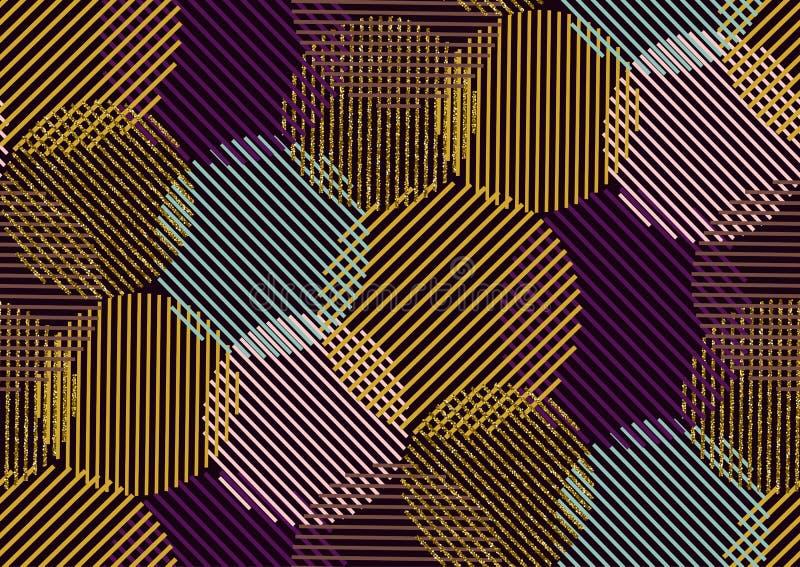 Wektorowy bezszwowy wzór z złocistą błyskotliwością textured okręgi i lampasy ilustracja wektor