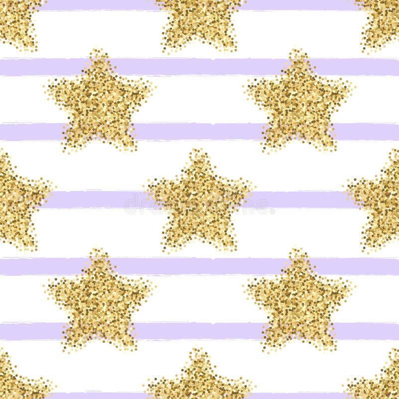 Wektorowy bezszwowy wzór z złocistymi błyskotliwość gwiazdami, lampasami i royalty ilustracja