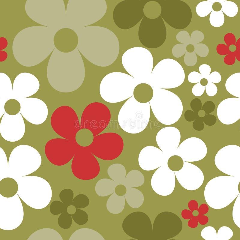 Wektorowy Bezszwowy wzór zieleni hipis Kwiecisty royalty ilustracja