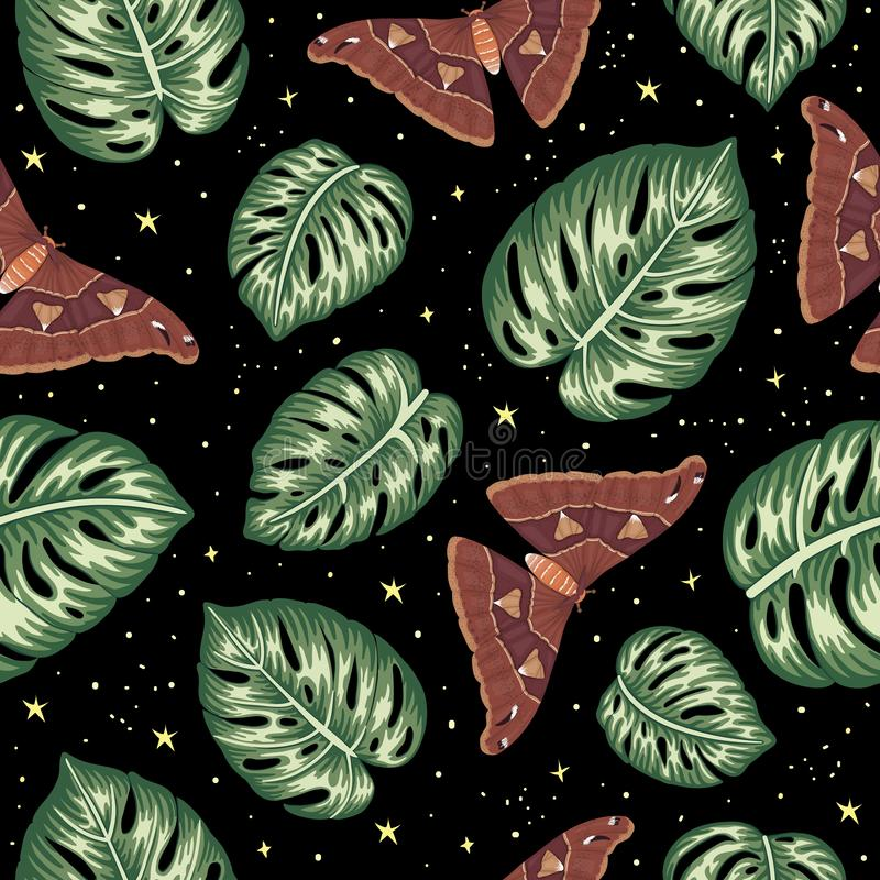Wektorowy bezszwowy wz?r zielony monstera opuszcza z motylami na czarnym tle z gwiazdami ilustracji
