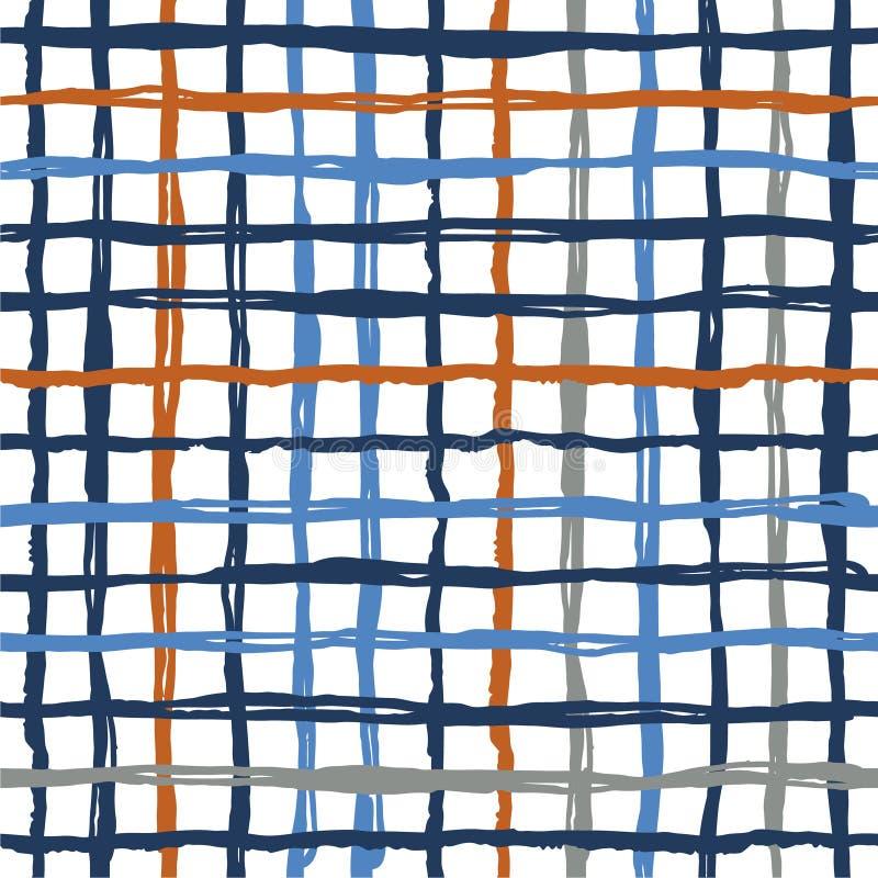 Wektorowy bezszwowy wzoru muśnięcie paskuje szkocką kratę Błękitny pomarańczowy kolor na białym tle Ręka malująca folwarczek teks ilustracji