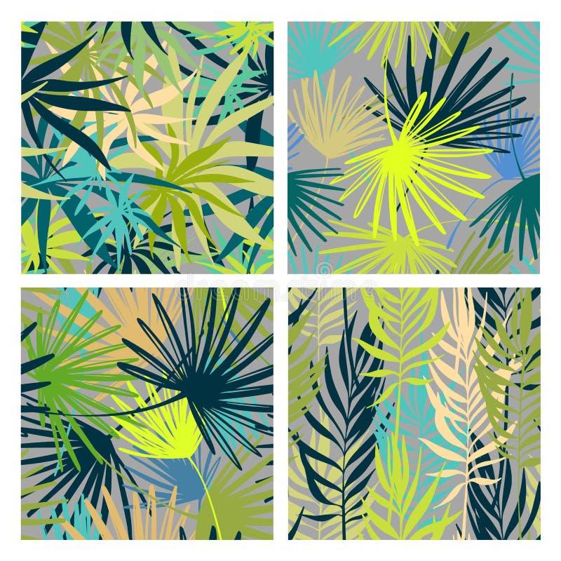 Wektorowy Bezszwowy wzoru set Palma opuszcza tapety Ręki rysujący tropikalni tła ilustracja wektor