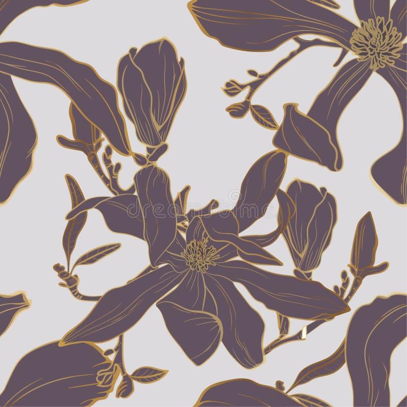 Wektorowy bezszwowy złoty kwiecisty wzór z magnolia liśćmi i kwiatami royalty ilustracja