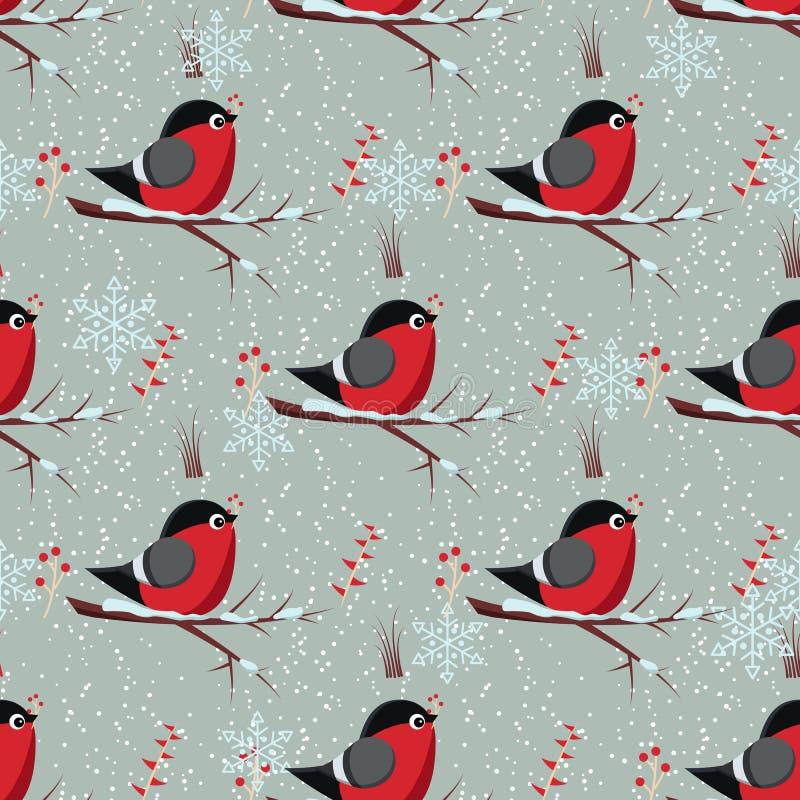 Wektorowy bezszwowy zima wzór z ptasim gilem siedzi na gałąź drzewo z wiązką czerwony rowanberry ilustracja wektor