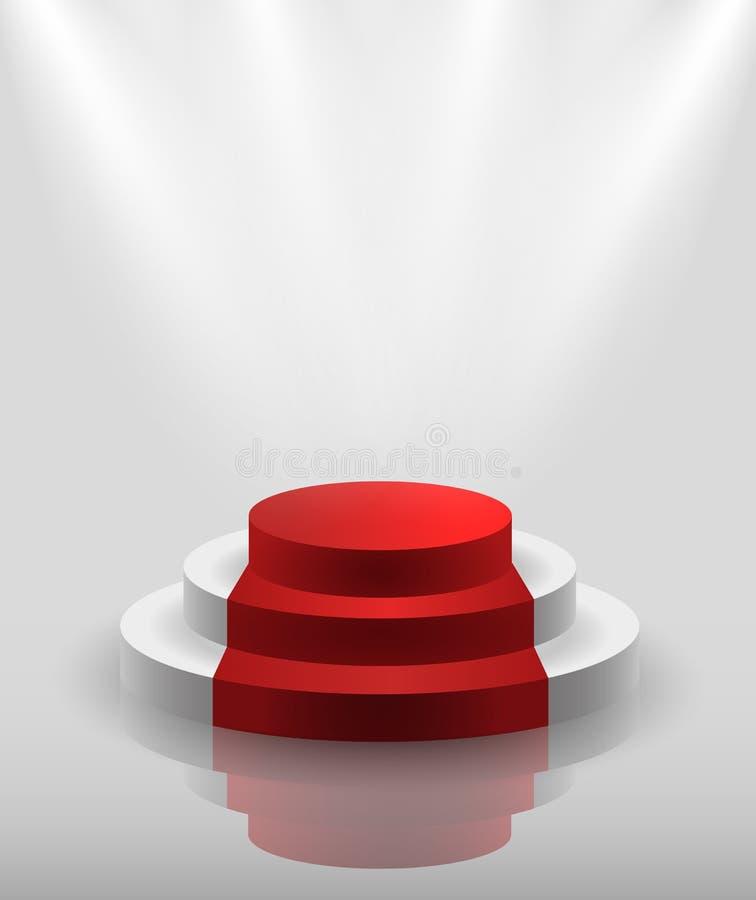 Wektorowy biały pusty podium iluminujący światło reflektorów ilustracji