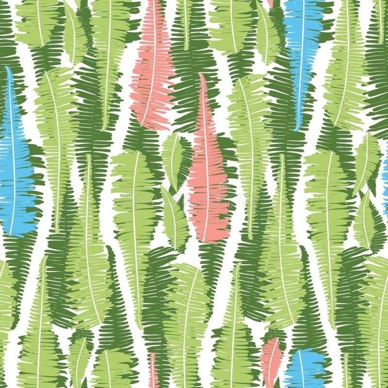 Wektorowy biały bezszwowy wzór z pionowo paprocią opuszcza lampasy Stosowny dla tkaniny, prezenta opakunku i tapety, ilustracja wektor