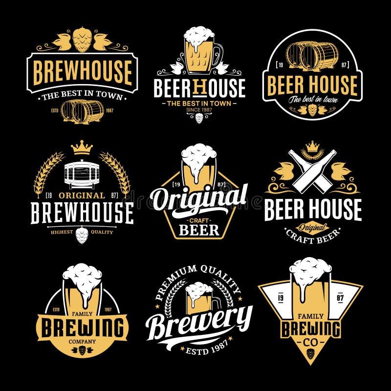 Wektorowy biały i żółty rocznika piwa logo royalty ilustracja