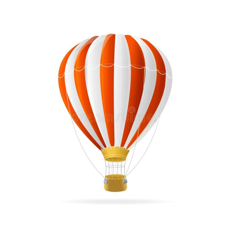 Wektorowy biały i gorący lotniczy ballon odizolowywający ilustracji