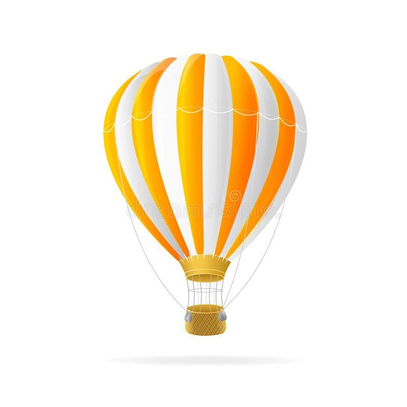 Wektorowy biały i pomarańczowy gorącego powietrza ballon odizolowywający royalty ilustracja