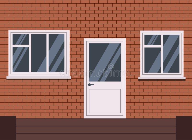 Wektorowy biały klingeryt zamykający dzwi wejściowy z schodkami i dwa okno kawałka i drzewo sekcji ilustracja wektor