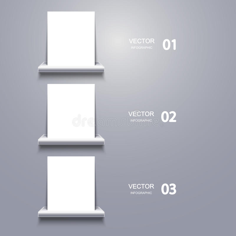 Wektorowy biały puste miejsce na półce Infographic ilustracja wektor